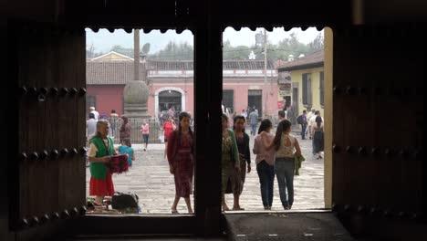 Maya-women-enter-La-Merced-Church-Holy-Week-in-Antigua-Guatemala