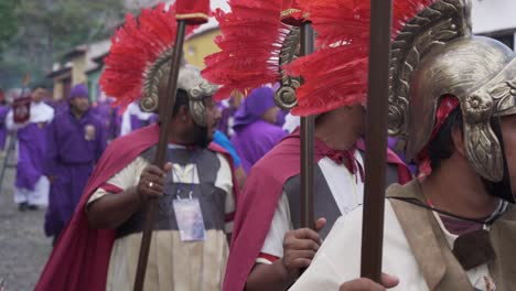 Young-men-dressed-as-Roman-centurians-march-in-an-Easter-procession-in-Antigua