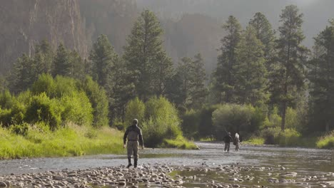 Three-fly-fisherman-casting-on-a-quiet-trout-stream-in-Central-Montana-1