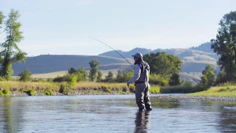 Un-Pescador-Con-Mosca-En-Una-Hermosa-Mañana-De-Verano-Arroja-Truchas-En-Un-Río-Montana-1