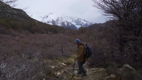 A-hiker-treks-thru-the-wilderness-on-an-adventure-in-cloudy-windswept-Fitz-Roy-National-Park-Argentina-4