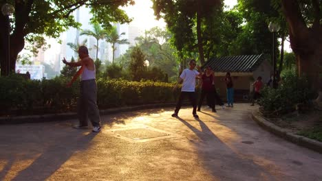 Chinese-seniors-practice-tai-chi-in-a-park-in-the-early-morning-in-Hong-Kong-China