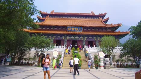 Establishing-shot-of-the-Buddhist-temple-at-Tian-Tan-Buddha-on-Lantau-Island-Hong-Kong-China