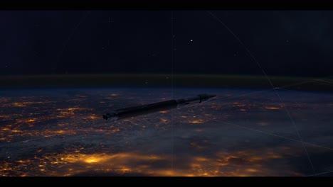 Una-Toma-Animada-De-Un-Cohete-Viajando-Por-El-Espacio-En-4k