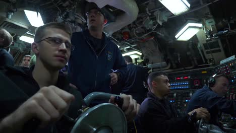 Navy-Sailors-On-The-Bridge-Steer-And-Control-The-Uss-Wyoming-A-Nuclear-Submarine-At-Sea