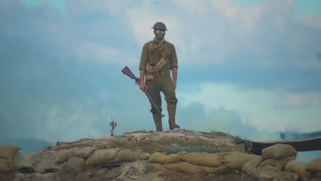 A-Man-Reenacts-A-Scene-From-World-War-One-Ww1-Standing-On-A-Bunker-On-The-Battlefield