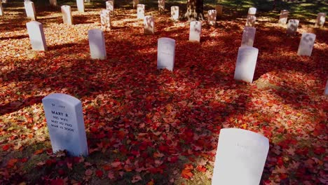 Slow-Moving-Shot-Along-Grave-Sites-In-Arlington-National-Cemetery-Washington-Dc-With-Fall-Colors-1