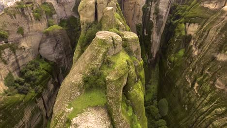 Beautiful-aerial-over-the-rock-formations-and-monasteries-of-Meteora-Greece
