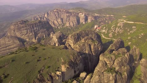 Beautiful-aerial-over-the-rock-formations-and-monasteries-of-Meteora-Greece-3