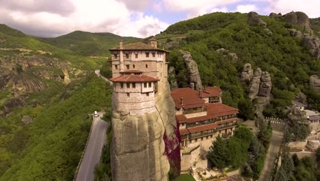 Beautiful-aerial-over-the-rock-formations-and-monasteries-of-Meteora-Greece-6
