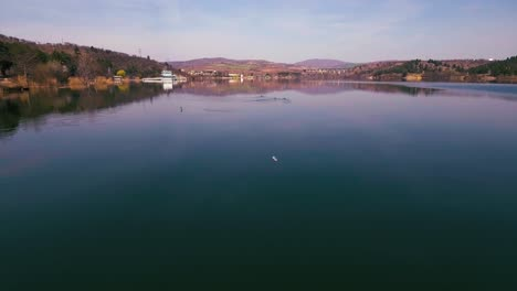 Low-arial-above-Lake-Mladost-in-Macedonia