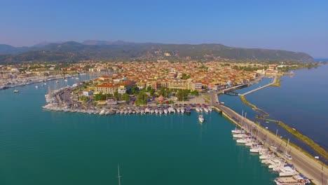 Aerial-over-main-city-on-Lefkada-Island-Greece