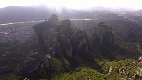 Beautiful-aerial-over-the-rock-formations-and-monasteries-of-Meteora-Greece-12