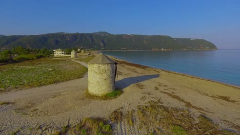 Aerial-over-beautiful-windmills-reveals-Greek-Island-of-Lefkada