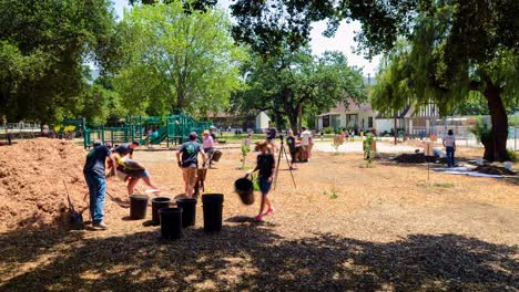 Timelapse-of-volunteer-group-building-raised-beds-in-a-school-garden-at-San-Antonio-Elementary-School-in-Ojai-California