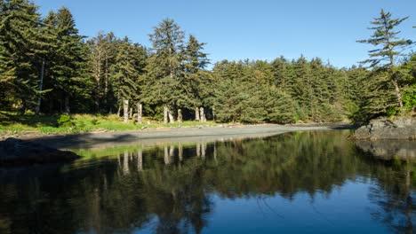 Timelapse-of-the-coastal-tide-at-SGang-Gwaay-Llnagaay-a-UNESCO-World-Heritage-Site-on-SGang-Gwaay-Haida-Gwaii-Canada