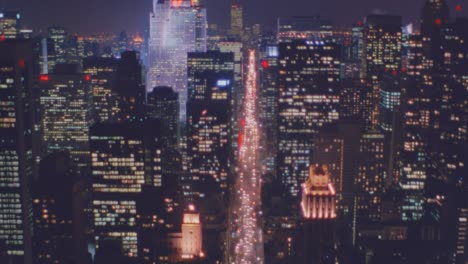 Nightime-aerial-of-Manhattan-New-York-skyline-night
