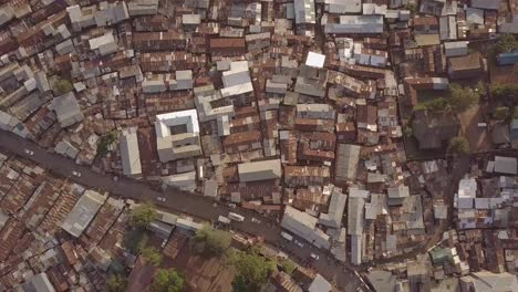 Remarkable-aerial-shot-looking-straight-down-above-vast-overpopulated-slums-in-Kibera-Nairobi-Kenya
