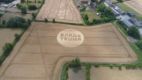 -Aerial-shots-of-a-crop-circle-in-the-United-Kingdom-England-with-writing-about-Trump-1