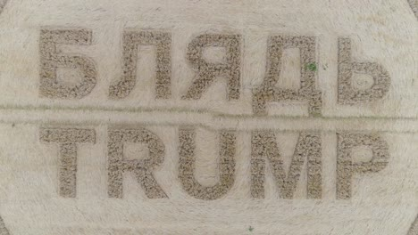 -Aerial-shots-of-a-crop-circle-in-the-United-Kingdom-England-with-writing-about-Trump-8