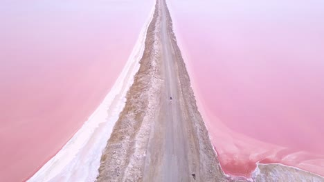 Amazing-aerial-over-a-woman-jogging-or-running-on-a-colorful-pink-salt-flat-region-in-Namibia-Africa