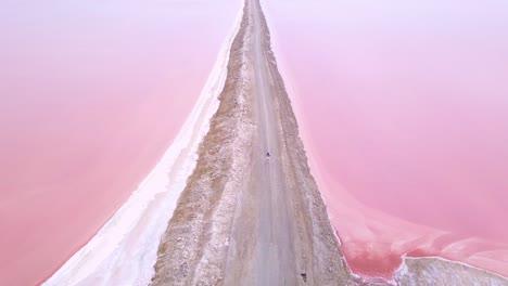 Increíble-Antena-Sobre-Una-Mujer-Trotar-O-Correr-En-Una-Colorida-Región-De-Llanura-De-Sal-Rosa-En-Namibia-África