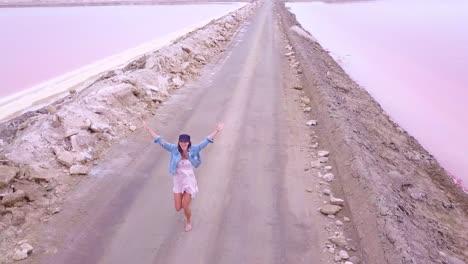 Increíble-Antena-Sobre-Una-Mujer-Trotando-O-Corriendo-En-Una-Colorida-Región-Rosada-Del-Salar-En-Namibia-África-2