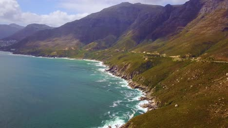Aerial-of-the-beautiful-coastline-and-narrow-roads-south-of-Cape-Town-South-Africa