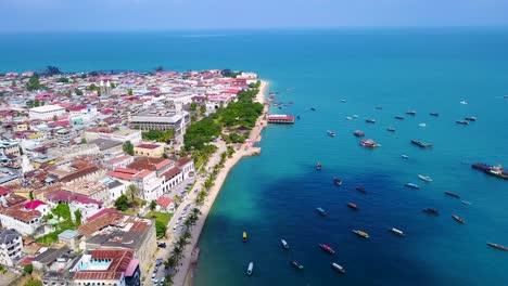 Beautiful-aerial-drone-over-downtown-Stonetown-Zanzibar-Tanzania-Africa