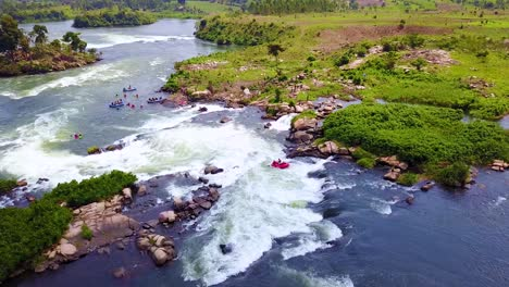 Aerial-over-rafters-whitewater-rafting-on-the-Nile-River-in-Uganda-Africa-1