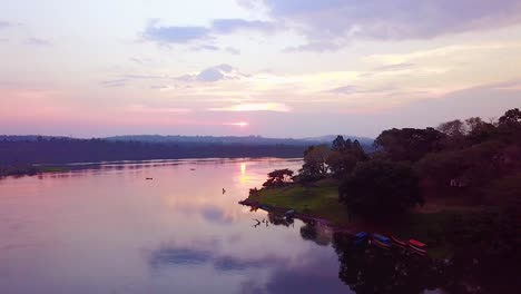 Beautiful-aerial-view-at-sunset-along-the-Nile-River-in-Uganda-Africa