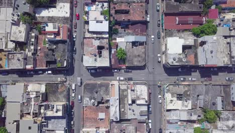 Aerial-looking-straight-down-on-old-buildings-in-the-capital-of-Dominican-Republic-Santo-Domingo