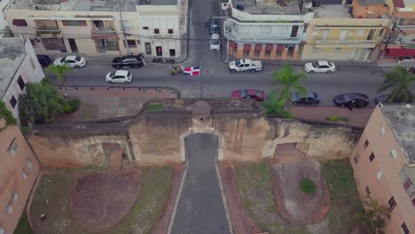 Aerial-of-the-flag-of-the-Dominican-Republic-in-Santo-Domingo