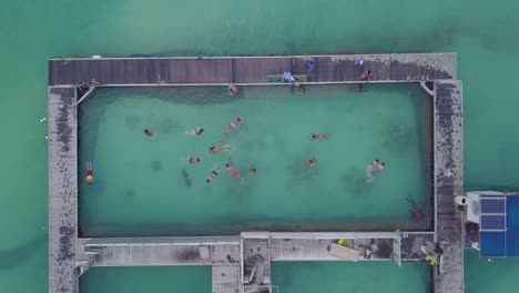 Aerial-of-tourists-snorkling-and-swimming-at-a-dolphin-swimming-center-at-Punta-Cana-in-the-Dominican-Republic