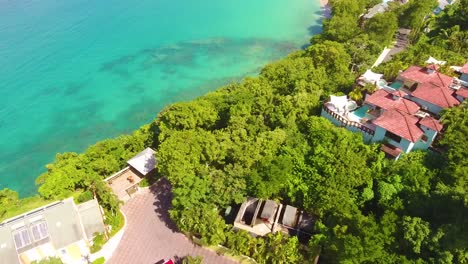 Aerial-establishing-shot-of-the-Caribbean-Island-of-St-Lucia-with-hotels-resorts-condos-and-luxury-homes