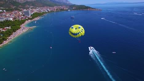 Beautiful-aerial-over-parasailing-near-Hvar-on-the-Adriatic-coastline-Croatia