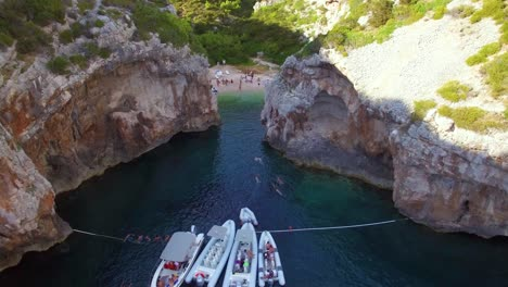 Nice-aerial-over-a-beautiful-cove-and-isolated-secluded-remote-beach-on-the-Adriatic-Coast-of-Croatia