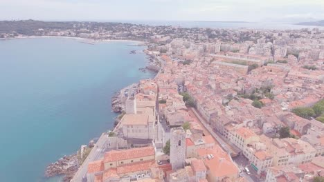 Aerial-establishing-shot-over-the-old-city-of-Nice-France
