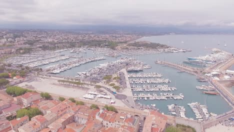 Aerial-establishing-shot-over-the-harbor-at-Nice-France
