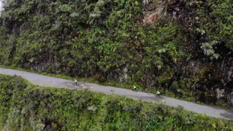 Aerial-shot-of-bicyclists-bikers-on-the-La-Paz-Death-Road-in-Bolivia
