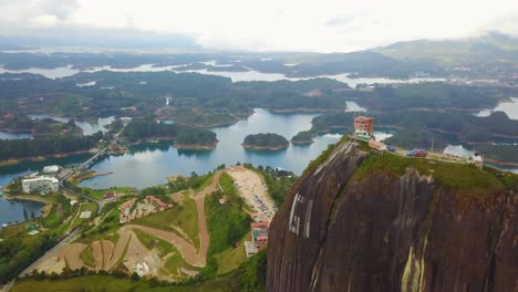 Aerial-shot-around-Guatepe-rock-formation-and-lookout-Colombia-South-America