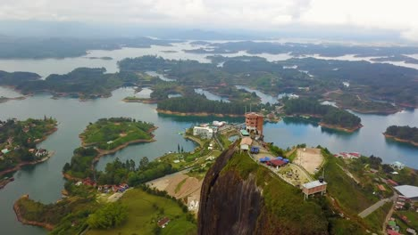 Aerial-shot-around-Guatepe-rock-formation-and-lookout-Colombia-South-America-1