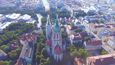 Beautiful-aerial-view-of-St-Paul-s-Gothic-cathedral-in-Munich-Germany