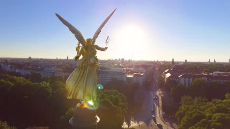 Aerial-around-the-beautiful-golden-Angel-Of-Peace-Maximillian-Park-in-the-Munich-Germany-suburb-of-Bogenhausen