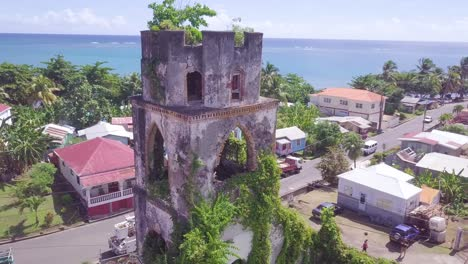 Aerial-around-an-abandoned-lookout-tower-in-Grenada-Caribbean