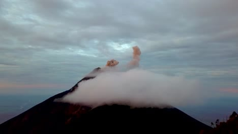 Beautiful-aerial-perspective-over-an-active-volcano-in-Guatemala