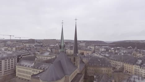 Aerial-over-church-and-cityscape-establishing-of-downtown-Luxembourg-City