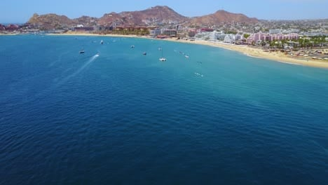 Great-establishing-aerial-shot-of-Cabo-San-Lucas-Baja-California-Mexico-hotels-and-resorts-along-coast