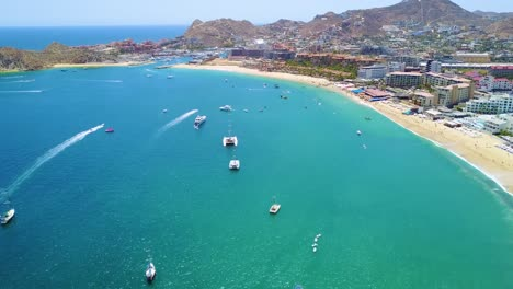 Great-establishing-aerial-shot-of-Cabo-San-Lucas-Baja-California-Mexico-hotels-and-resorts-along-coast-1