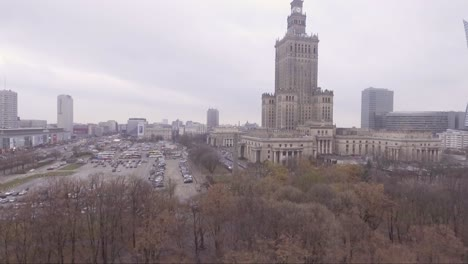 Aerial-rising-shot-of-Palace-of-Culture-and-Science-in-Warsaw-Poland